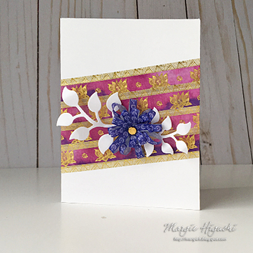 Washi Tape Flower Card by Margie Higuchi w Paper House Productions