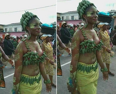 Stunningly crazy! Lady put on Okra made cloth exposing her cleavage - SEE PHOTOS