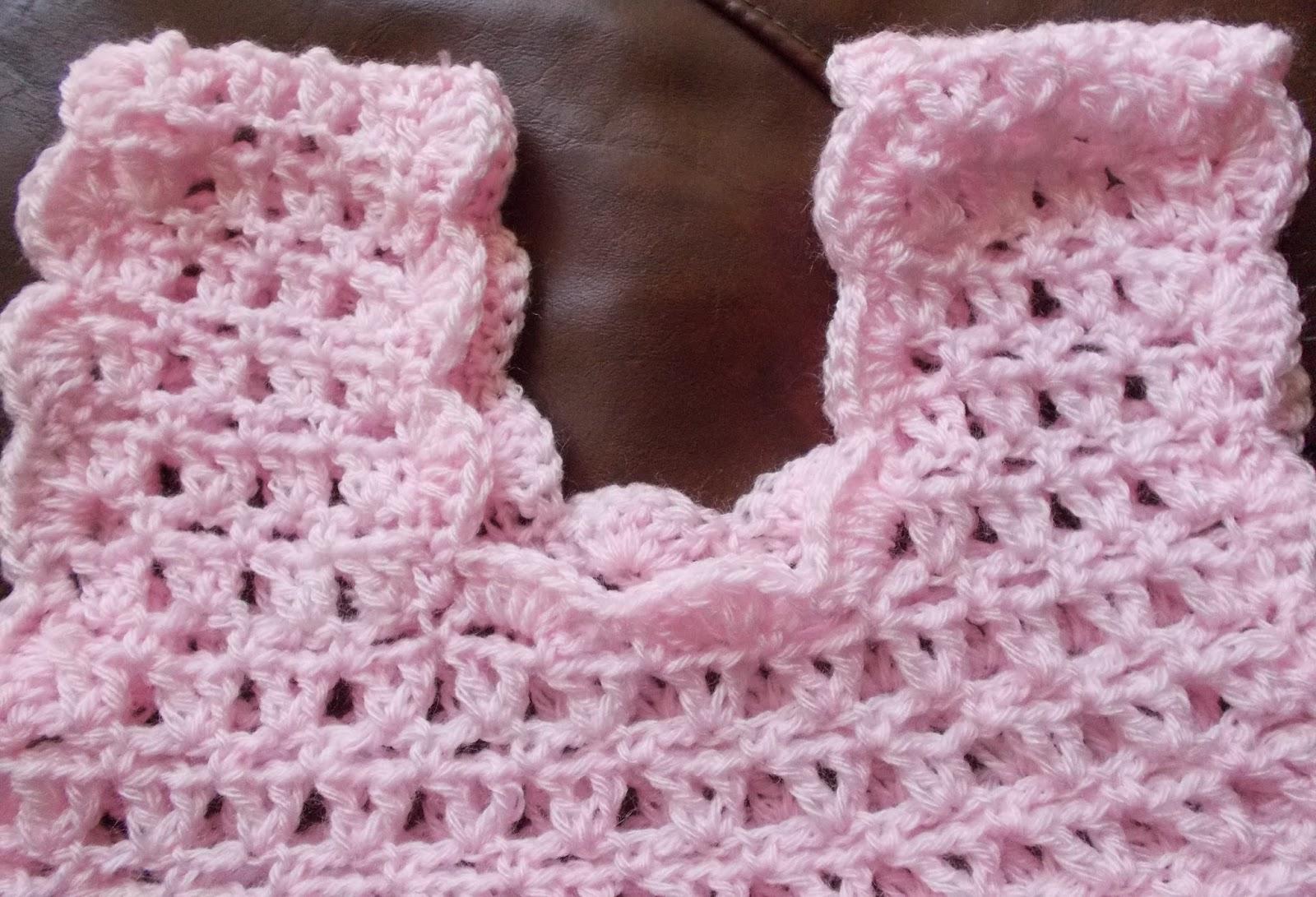 Sweet Nothings Crochet free pattern blog, detail of neckline for beautiful lacy dress,