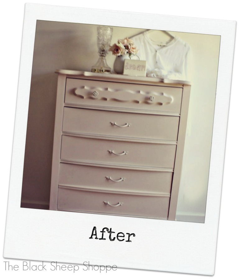 After photo of painted French Provincial style chest of drawers.