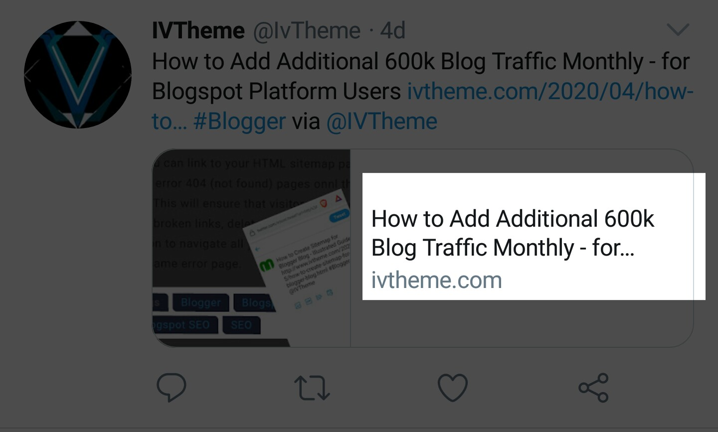 Blogger blog title tag on Twitter