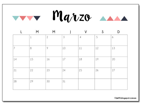 Imprimible gratuito: calendario para marzo 2016
