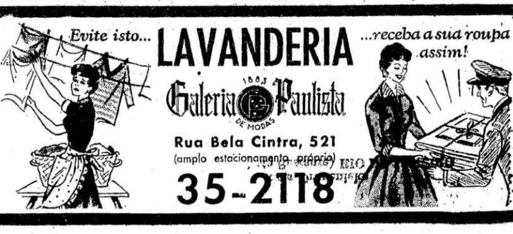 Campanha publicitária de 1955 ofertando serviço de lavagem de roupas para os paulistanos
