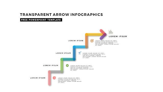 Transparent Arrow Design Elements for Free PowerPoint Template Slide 1