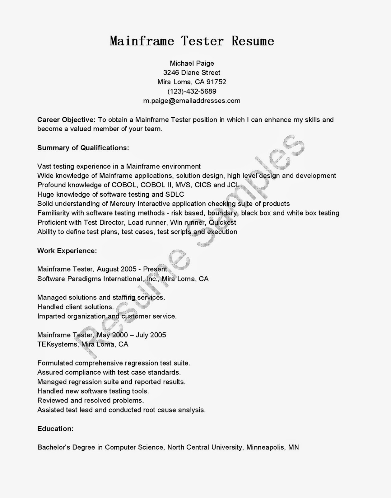 qa tester resume samples qa load tester cover letter personnel administrator cover letter qa resume sample