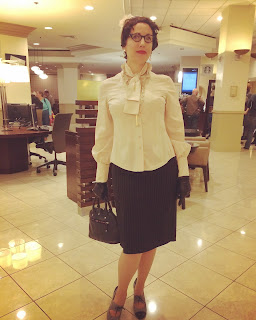 Gail Carriger In A Steampunk Bow Top & Black Pin Stripe Pencil Skirt at ConFusion, Detroit