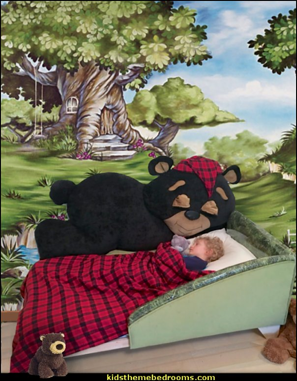 teddy bear toddler bed  woodland forest theme bedroom ideas - forest fairies decor - woodland fairy room decor -  woodland murals  - woodland animal decorations - forest animals - fairy woodland bedrooms - snow white themed bedroom decorating ideas - magical woodland fairy forest theme bedrooms - Forest themed bedding -  Toddler Teddy Bear Beds - Teddy Bear Headboards