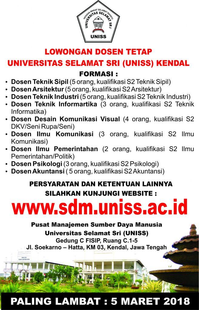 Lowongan Dosen Tetap Universitas Slamat Sri (UNISS) Kendal