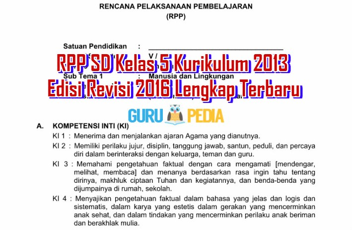 RPP SD Kelas 5 Kurikulum 2013 Edisi Revisi 2016 Lengkap Terbaru Info Guru Pedia