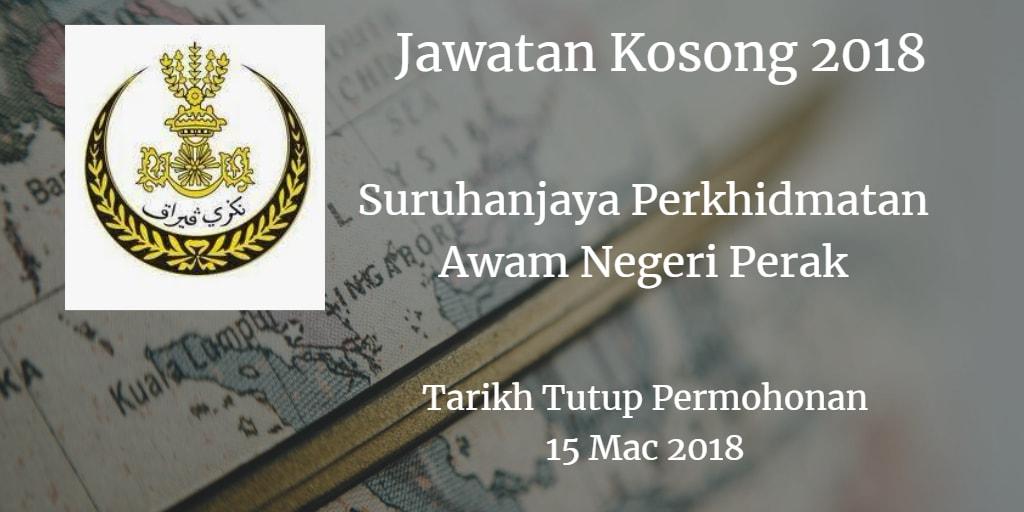 Jawatan Kosong Suruhanjaya Perkhidmatan Awam Negeri Perak 15 Mac 2018