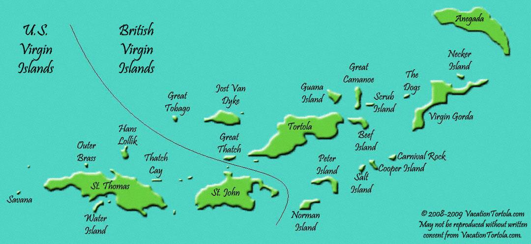 Ilhas Virgens | Mapas Geográficos das Ilhas Virgens