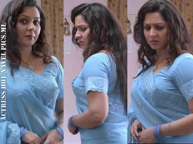 Sreeya Remesh Hot Saree Side View Photos