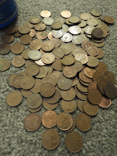 collection copper ha'pennies pile