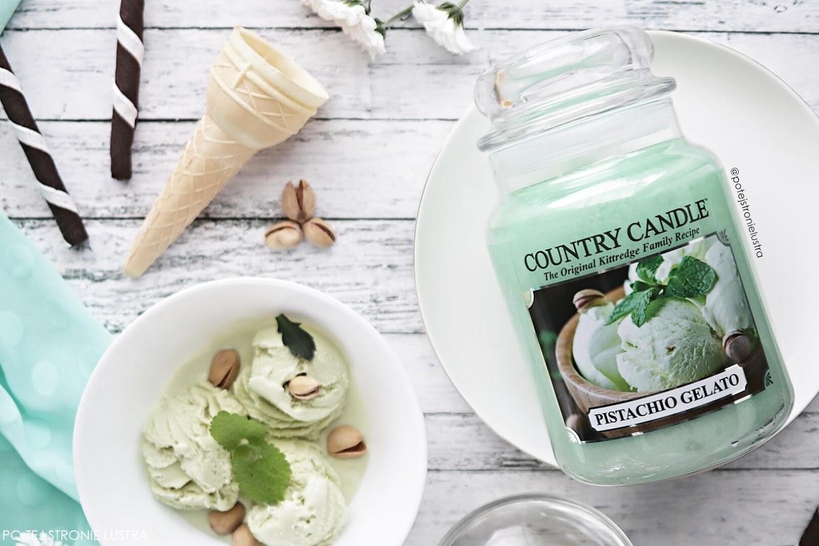 lody pistacjowe i świeca country candle pistachio gelato