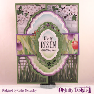 Divinity Designs Stamp Set: Glorious Easter, Paper Collection:  Spring Flowers 2019, Mixed Media Stencil: Flourishes, Custom Dies: Vintage Label Flip Card and Layers, Belly Band, Vintage Borders