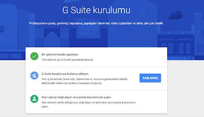 Google G Suite kurulumu ekranı