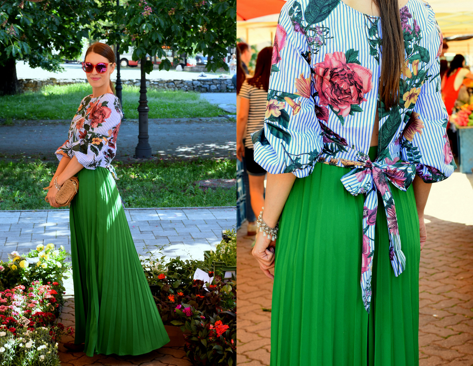 zelená maxi sukňa s kvetovanou blúzkou