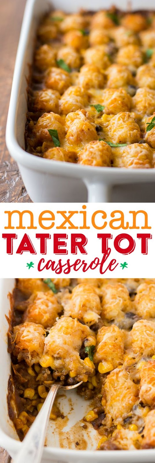 This delicious taco-inspired tater tot casserole recipe is chock-full of black beans, corn, ground beef and a whole lot of flavor. Oh, did I mention it's also loaded with cheese? Yep. We definitely have the cheese component covered!