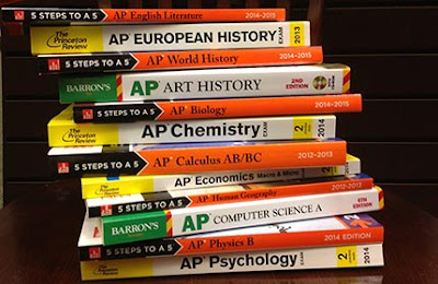 Stack of AP exam review books