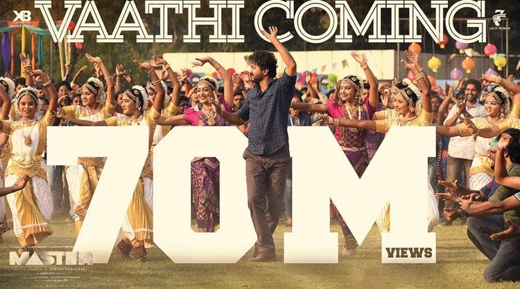 Vijay's 'Master - Vaathi Coming' song crossed over 7 crore views
