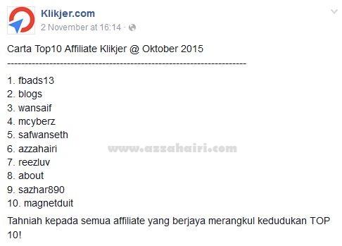 azzahairi top affiliate klikjer