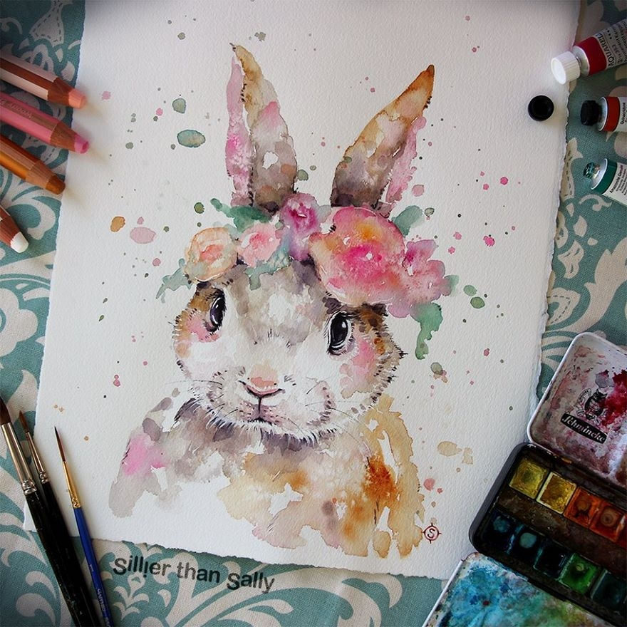 09-The-bunny-dressed-for-a-party-Sally-Walsh-sillierthansally-Watercolour-Portraits-Paintings-of-Wildlife-www-designstack-co