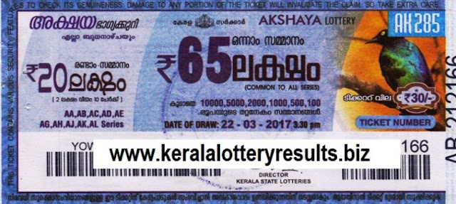 Kerala lottery official result of Akshaya (AK-293) on 17 MAY 2017