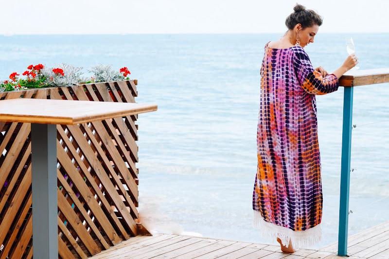 пляжный образ в кимоно