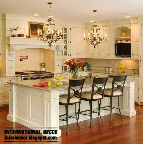 classic style kitchen island design, white kitchen
