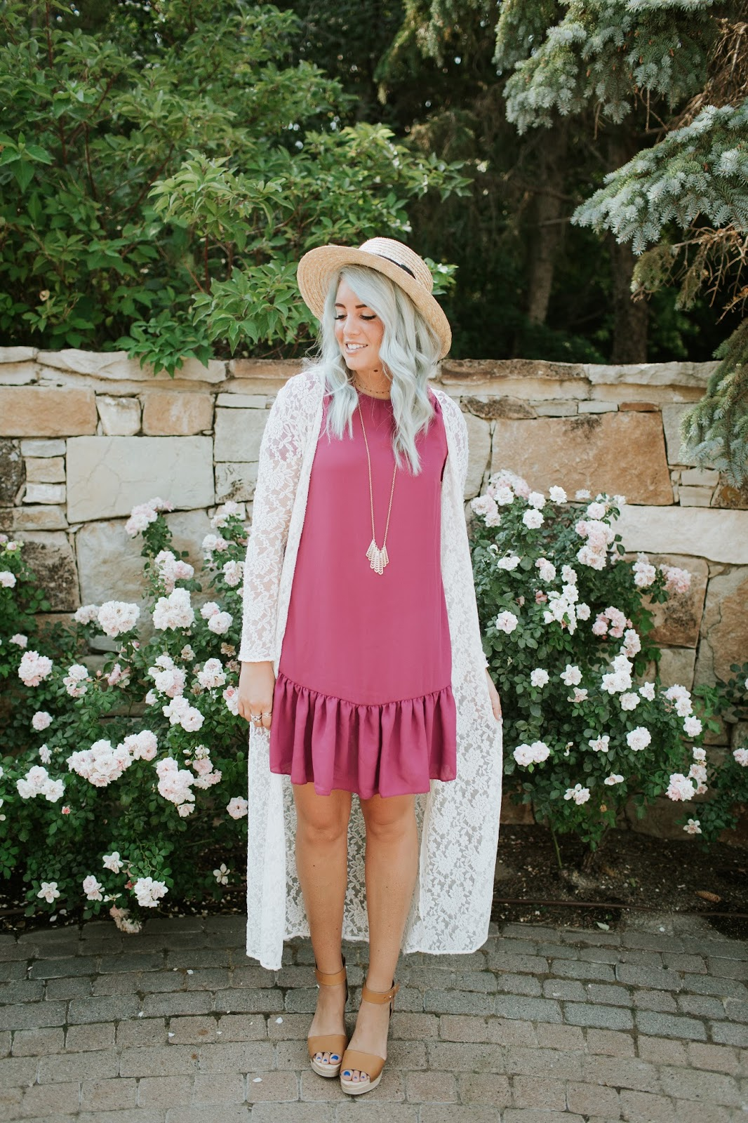 Summer Outfit, Lace Cardigan, Long Necklace