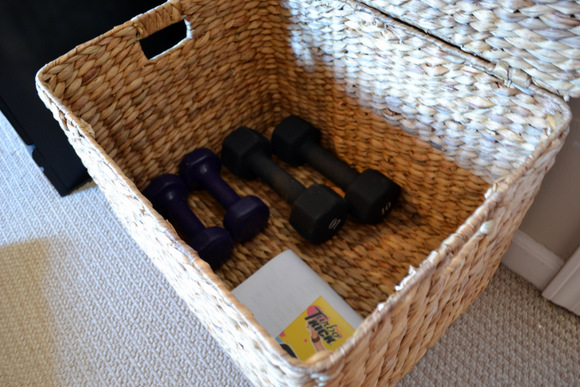 Workout Equipment in Basket Dumbbells
