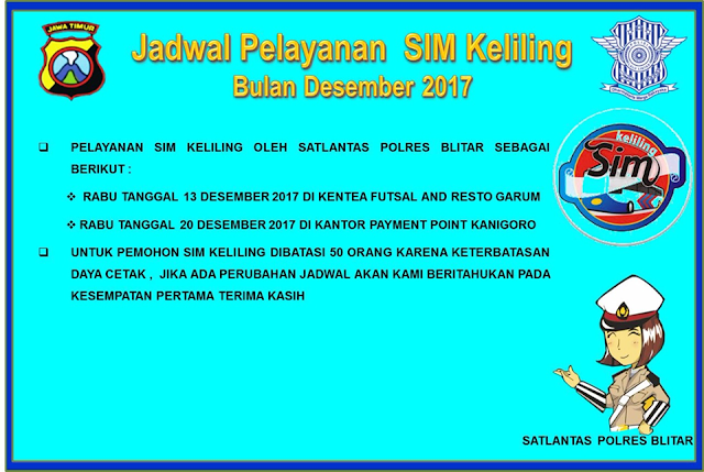 Seputar Blitar - Jadwal Sim Keliling Blitar Desember 2017
