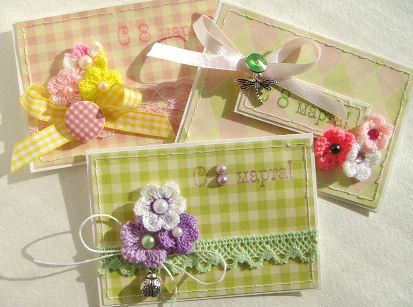 Sweetyscrappy мини открытки к 8 марта серия Crochet Flowers