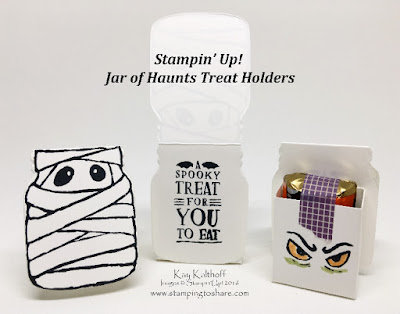 Stampin' up! Jar of Haunts Halloween Mummy Treat Holders by Kay Kalthoff at Stamping to Share
