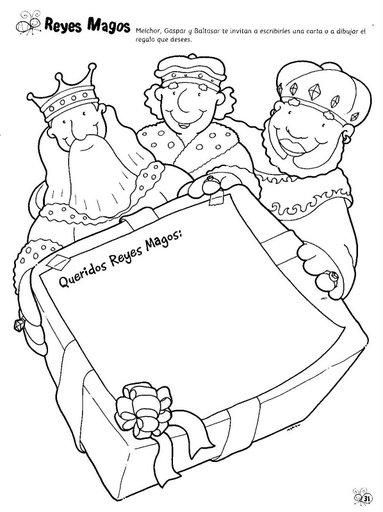 Carta A Los Reyes Magos Y Páginas Para Colorear Navidad De