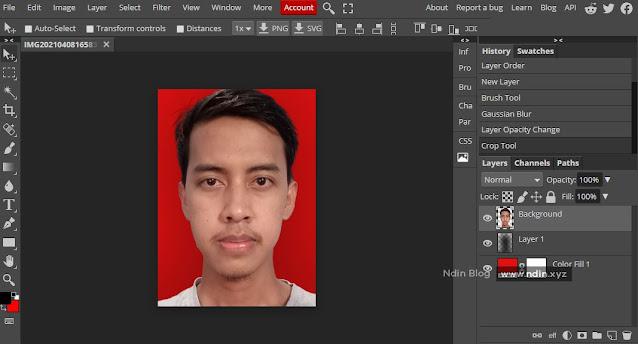 mengganti background photo