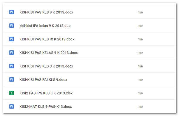 Kisi-Kisi PAS/ UAS Kelas 9 Semester 1 Kurikulum 2013 dan Kurikulum 2006