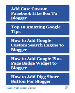 Recent Posts Widget for Blogger
