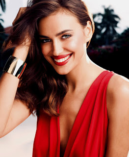Irina Shayk Smiling Photo In Red Dress