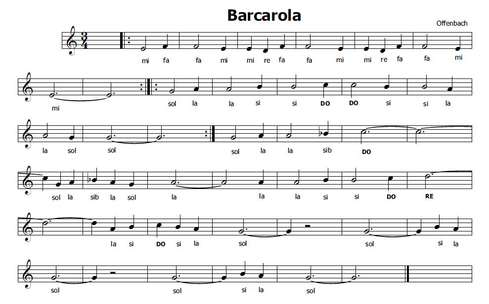 Estremamente Musica e spartiti gratis per flauto dolce: Barcarola di Offenbach VL54
