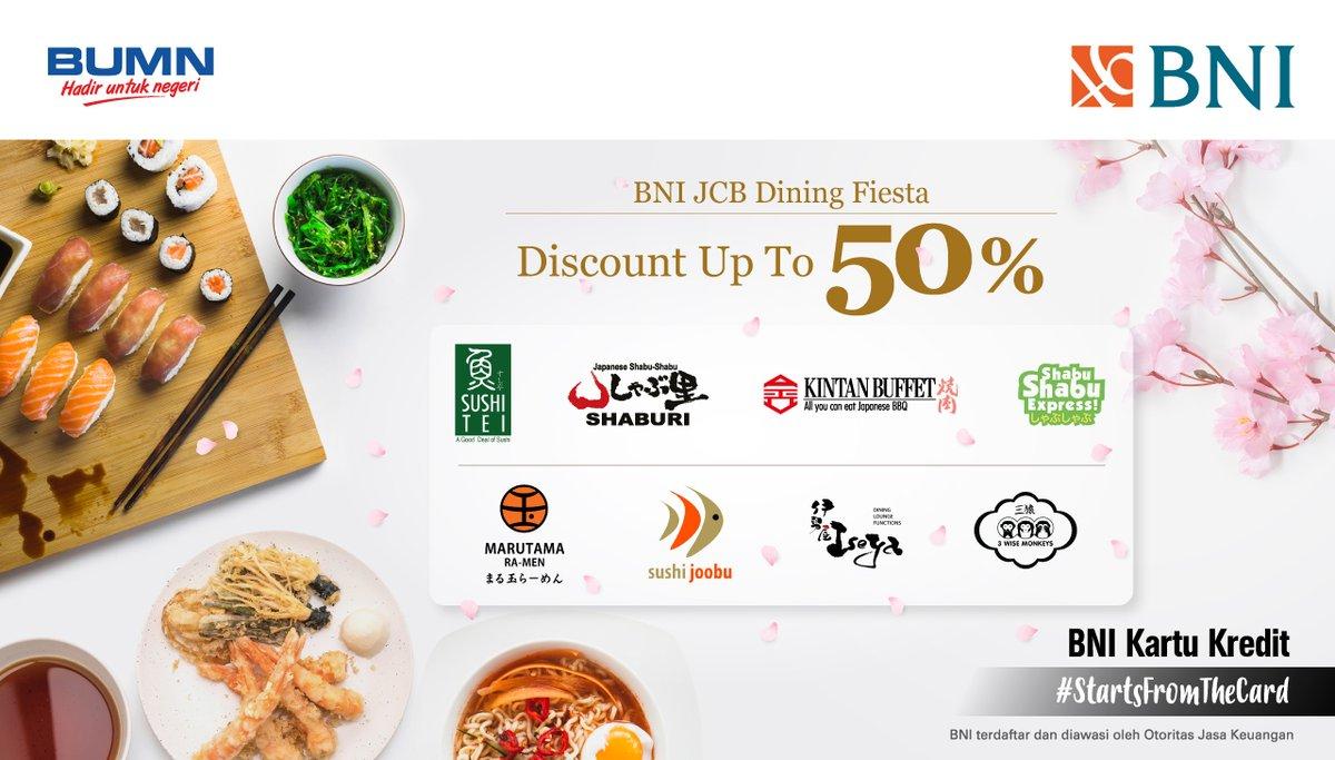 Diskon hingga 50% di BNI JCB Dining Fiesta