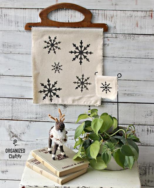 DIY Snowflake Houseplant Flag #stencil #Oldsignstencils #snowflake