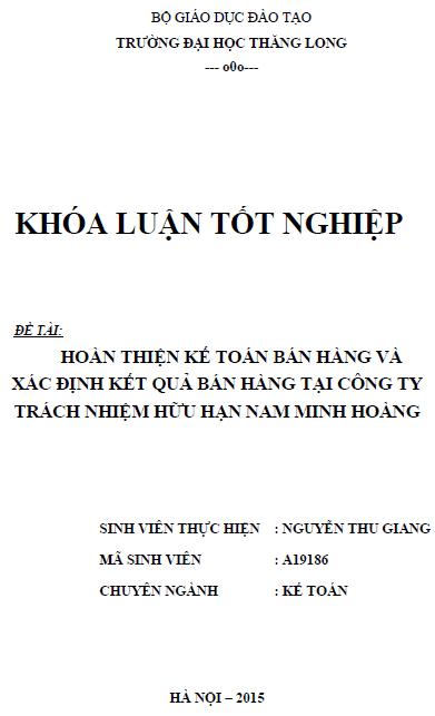 Hoàn thiện kế toán bán hàng và xác định kết quả bán hàng tại Công ty TNHH Nam Minh Hoàng