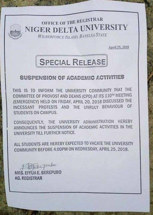 NDU Suspends Academic Activities Indefinitely