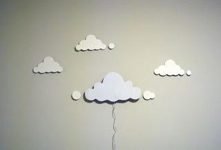 Lampara hecha con nube de cartón
