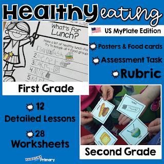 Healthy eating unit for US first and second grade students that includes lessons, printables, assessment task and a rubric.