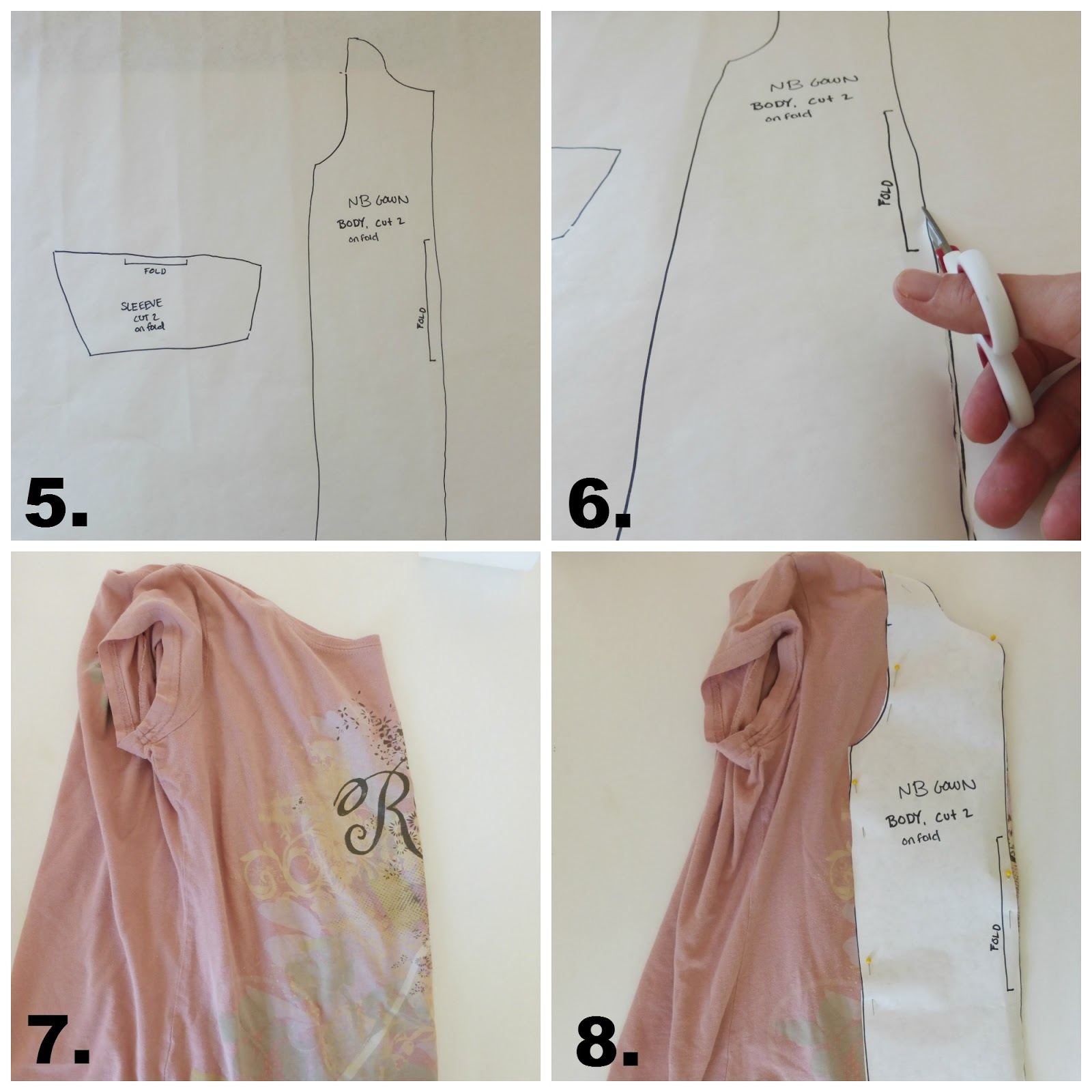 make a baby gown from an adult tee sewing tutorial