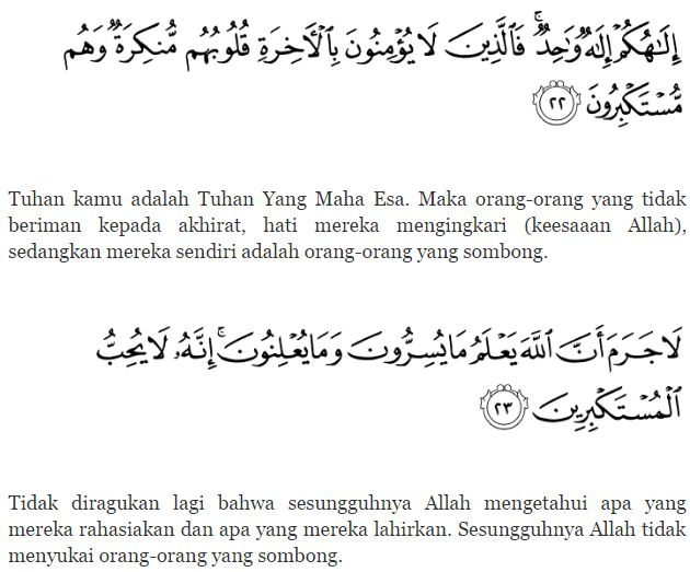 Surah An Nahl Ayat 22-23 dan Terjemahanya