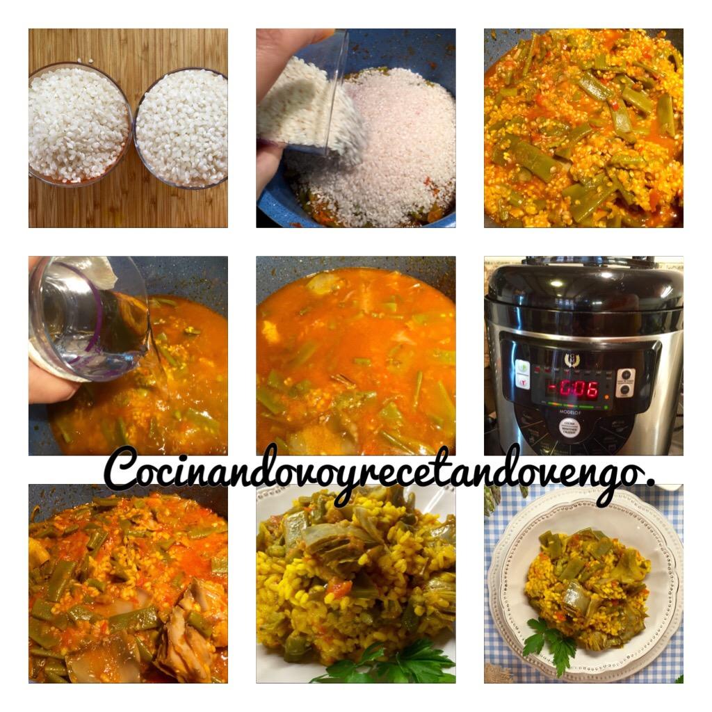 Cocinando voy recetando vengo arroz vegano con alcachofas - Judias pintas con arroz olla express ...