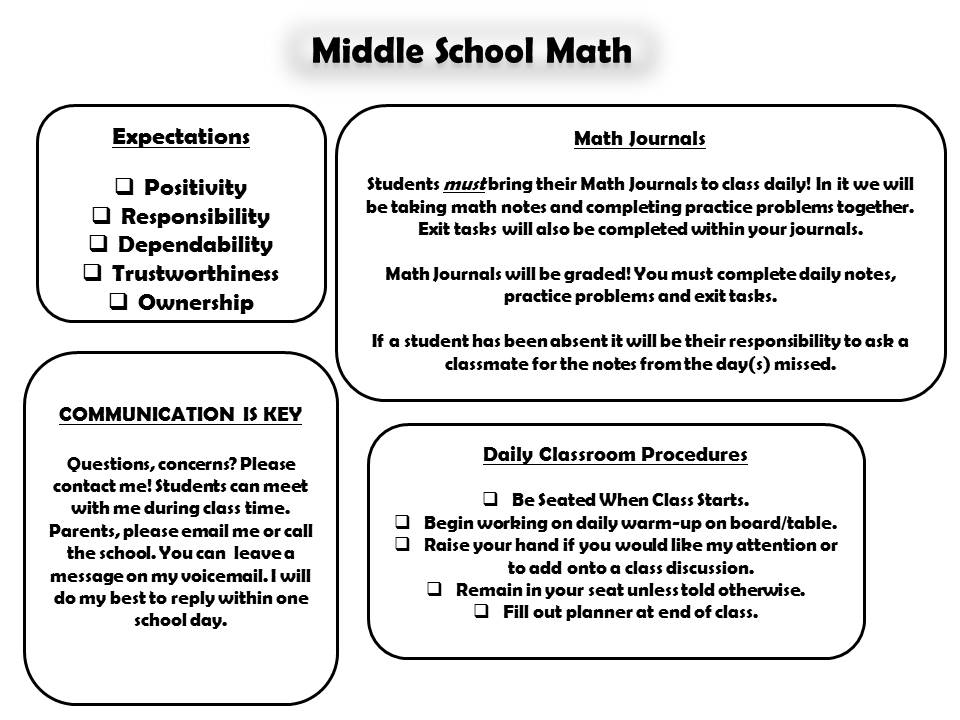 Math with Miss Post: Middle School Math Syllabus